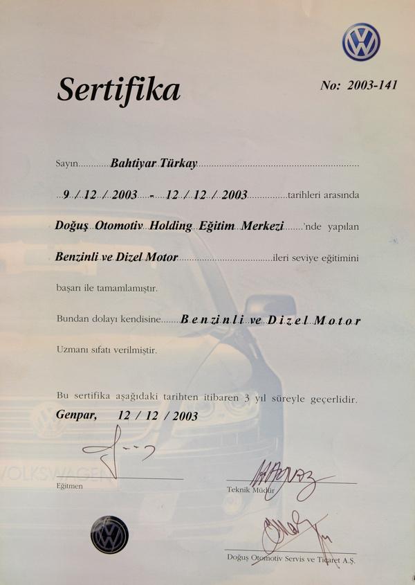 benzinli ve dizel motor sertifikasi